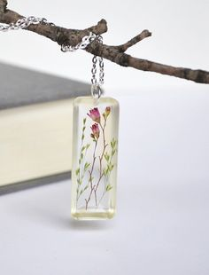 Pressed Flower Necklace--pendant made with resin.