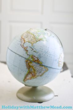 World Hues. Use vintage globes and maps as inspiration for cool palettes and projects. FLEA MARKET FINDS www.HolidaywithMatthewMead.com
