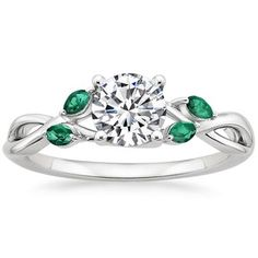 The Willow Ring With Lab Emerald Accents #BrilliantEarth (I have to admit, I don't understand what makes jewels precious if they can be made in a lab...)