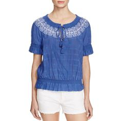 Tory Burch Nina Embroidered Peasant Top ($250) ❤ liked on Polyvore featuring tops, blouses, blue peasant blouse, cotton blouse, boho peasant blouse, blue peasant top and embroidered cotton blouse