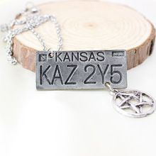 4900854e6f Frete grátis para 1 Pcs jóias filme Supernatural Kansas KAZ 2Y5 placa  pingente de colar Vintage