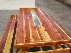 8 Ft Oversized, Wrapped, Redwood Picnic Table With Benches Attached And A  4ft Galvanized