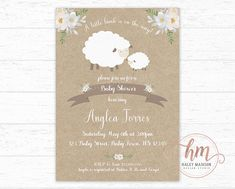 Floral Lamb Baby shower invitation Little Lamb Invitation