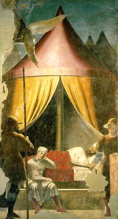 """PIERO DELLA FRANCESCA: """"Sueño de Constantino"""", frescos de la capilla Bacci de Arezzo."""