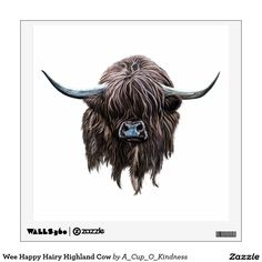 Wee Happy Hairy Highland Cow Wall Decor