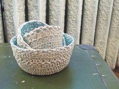 crochet nesting bowls in aqua (blue, white, crochet, knit, bowls, kitchen, home decor)