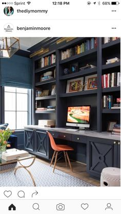 Jo: I like the blue for the cabinets (could get unfinished and paint) and I like the idea of bookshelves above (though not all the way down to the countertop--want to leave room for monitors, speakers, maybe the cork board we were talking about).