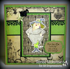 Halloween card using Wanda Witch (Sku#4311)  from Art Impressions.