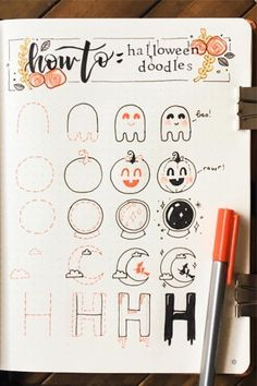 Best Bullet Journal Doodle Ideas For Halloween & Fall 2020 - Crazy Laura - - Starting your fall theme and need some deocration ideas? Check out these Fall and Halloween step by step bullet journal doodle tutorials for inspiration! Bullet Journal Kawaii, Doodle Bullet Journal, Bullet Journal Halloween, Bullet Journal October, Bullet Journal Notes, Bullet Journal Writing, Bullet Journal Spread, Bullet Journal Ideas Pages, Bullet Journal Layout