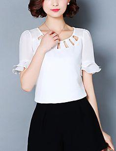 AiRobin Camisa Mangas Tres Cuartos de Color sólido para Hombre Primavera Verano