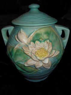 Roseville Pottery Water Lily Blue Cookie Jar with Lid