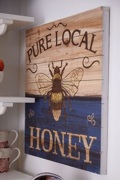 Nothing is sweeter than honey, except maybe Pier honey-themed wall decor. With a charming handcrafted aesthetic, it's sure to create a buzz wherever you hang it. - For kitchen Motifs Animal, Wood Pallets, Pallet Wood, Diy Wood, Bee Art, Wood Canvas, Wood Art, Bee Happy, Bees Knees
