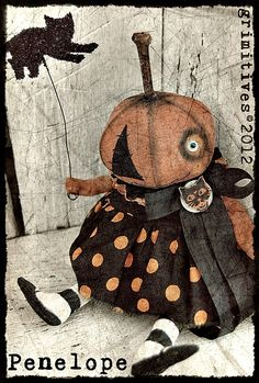 Primitive Halloween Pumpkin Doll by Grimitives. Retro Halloween, Halloween Doll, Dollar Store Halloween, Halloween Signs, Holidays Halloween, Halloween Pumpkins, Halloween Crafts, Happy Halloween, Halloween Decorations