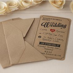 Pack of 10 gorgeous brown kraft wedding invitations for you to invite your   guests to your special day. You just have to simply fill out the blank spaces.   Stunning yet affordable wedding invitations! These invitations come complete with matching brown envelopes. W 10cm x H 18cm
