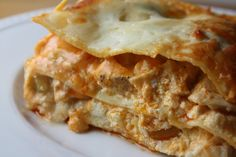 Buffalo Chicken Lasagna. Lunch today, with the buffalo-loving BFF. The taste was spot on, the texture...well, we think it needs more noodles. But a great starting point...