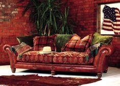 Sofa Mixed Fabrics Solid And Prints | Tetrad Eastwood Sofa   Beautiful  Mixed Leather And Fabric Sofa | Home | Pinterest | Fabric Sofa, Leather  Sofas And ...