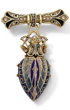 An antique enamel and diamond beetle brooch/watch, circa 1910. The stylised beetle in shades of blue and black enamel, the wings parting to reveal a watch, and set with rose-cut diamond highlights, suspended from a similarly-set bow brooch, makers' mark, French import marks, Russian import mark, length 6.0cm. #antique #brooch #watch