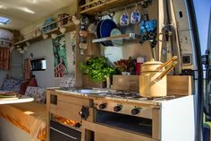 Gwithian has a full kitchen with a fridge, reclaimed gas hob, grill and oven, and it's stocked with herbs, spices, oils - even recipe books.  www.quirkycampers.co.uk
