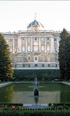 Royal Palace seen from Sabatini Gardens - Madrid, Spain