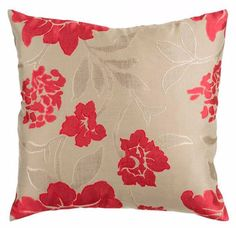 Give your sofa, loveseat or chair a flowery finishing touch with this floral-patterned taupe and pink throw pillow. Its neutral taupe background helps it pair with a variety of color combinations.