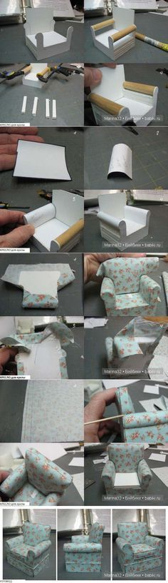 DIY doll house by using a shoebox - There are different methods of making doll houses using different material. The easiest is to make a DIY doll house by using shoebox. These doll house. Miniature Crafts, Miniature Houses, Miniature Dolls, Miniature Furniture, Dollhouse Furniture, Tiny Furniture, Miniature Chair, Paper Furniture, Furniture Chairs