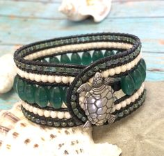 Sea Turtle Leather Beaded Bracelet, Danforth Sea Turtle Bracelet, Green Cuff…