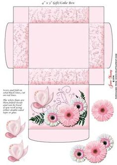 Gift Cake Box Pink White Gerberas on Craftsuprint designed by June Young - This… Diy Gift Box, Paper Gift Box, Diy Box, Raffle Baskets, Gift Baskets, Printable Box, Printables, Diy And Crafts, Paper Crafts