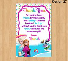 Frozen Thank You Card   Frozen Summer Thank by KidsPartyPrintables