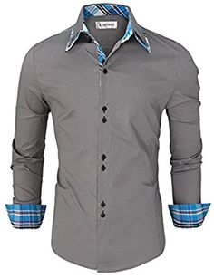 Tom's Ware Mens Trendy Slim Fit Inner Checkered Button Down Shirt XL - FrenzyStyle Stylish Shirts, Casual Button Down Shirts, Casual Shirts, Men Shirts, Casual Outfits, Urban Fashion, Mens Fashion, Create Shirts, Moda Casual