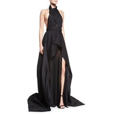 Donna Karan Sculpted Organza-Inset Halter Gown ($5,800) ❤ liked on Polyvore featuring dresses, gowns, gown, black, black gown, black full skirt, black halter evening gown, black evening gowns and black evening dresses
