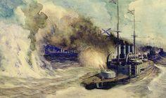 The Battle Between The Black Sea Fleet And The Armoured Cruiser Goeben Print By Mikhail Mikhailovich Semyonov