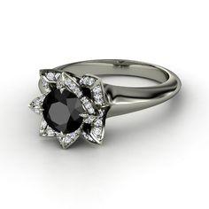 Round Black Diamond 14K White Gold Ring with Diamond | Lotus Ring | Gemvara