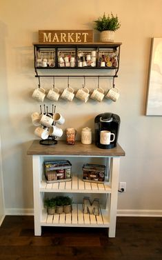 Love idea for a coffee nook Awesome Coffee Bar Ideas that Will Makes All Coffee Lovers Falling in Love TAGS: Coffee bar ideas, Coffee station kitchen, DIY Coffee bar in kitchen, Farmhouse coffee bar, Keurig station Coffee Bars In Kitchen, Coffee Bar Home, Coffee Bar Ideas, House Coffee, Kitchen Bars, Diy Coffe Bar, Wine And Coffee Bar, Coffee Bar Station, Home Coffee Stations