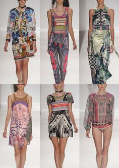 Custo Barcelona S/S 2014-Bright Candy and Neon Mixes – Tribal Pattern Injection – Colourful Kaleidoscope References – Geometric Mirroring – Checkerboard and Floral m...