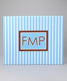 Take a look at this Blue Stripe Monogram Canvas by Tickled Pink NOLA on #zulily today!