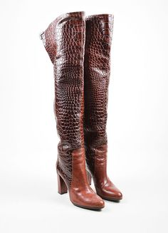 Brown Viktor & Rolf Lizard and Embossed Leather Over The Knee Boots