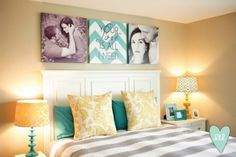 Beautiful decorating & colors, luv the pictures & headboard