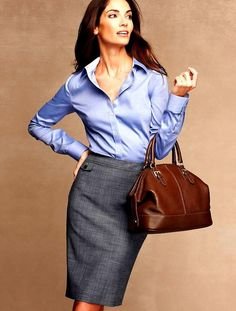 Classic work attire: pencil skirt and silk long sleeved blouse