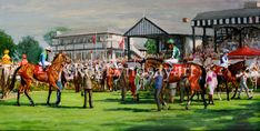 Painting, The ring at Pheonix Park, Horse racing Ireland.