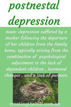 a phrase I have coined for midlife women who are struggling with empty nest syndrome.