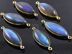 Natural Labradorite Bezel Marquise Component 24K by Beadspoint, $14.99