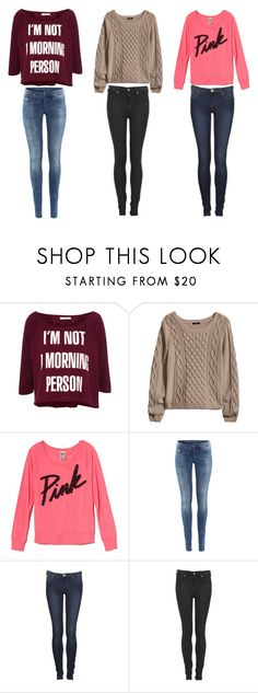 """""""3 Fall/winter outfits"""" by emilia-f ❤ liked on Polyvore featuring Pull&Bear, H&M, Victoria's Secret PINK and Dr. Denim"""