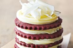 This is a nice modern twist on the classic red velvet cake - the biscuit texture goes so well with the creamy ganache.