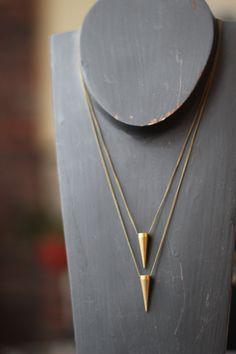 Pendulum Pendant Set  Solid Brass Spike  Tribal par MySelvagedLife, $38,00