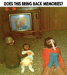 Childhood Memories: vintage photo of kids sitting on shag carpet, watching Rudolph the Red Nosed Reindeer, on console TV My Childhood Memories, Sweet Memories, 90s Childhood, I Remember When, My Memory, Old Toys, The Good Old Days, Retro, Old Things