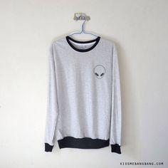 Alien Long Sleeve Tshirt / Grunge Sweatshirt / Pocket Tee / Tumblr Shirt / Plus Size by KissMeBangBang on Etsy https://www.etsy.com/listing/215057738/alien-long-sleeve-tshirt-grunge