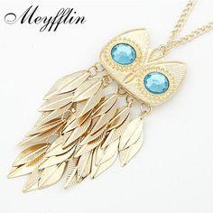 Meyfflin Largo Collar de Moda para Las Mujeres Collar de La Vendimia de Oro Color de la Hoja de Cristal Búho Collares Pendientes Collares Joyería kolye