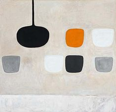 a painting of abstract square and round shapes against a white background