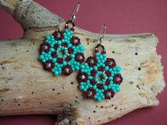 turquoise star snowflake beadwoven dangle earrings by BohemEden