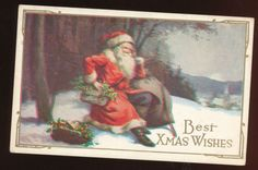 Santa Claus in Snowy Forest Antique Embossed Christmas Postcard HHH67 | eBay